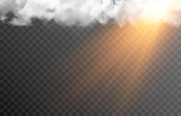 Vektorwolke mit der sonne morgendämmerung sonnenaufgang lichtstrahlen der sonne wolke rauch nebel png