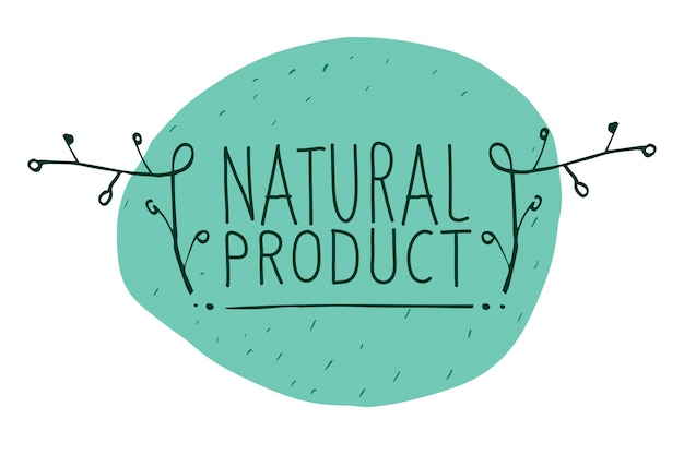 Vektorzeichen naturprodukt, das idee der ökologie, der natürlichkeit und der frische zeigt. handgemalt.