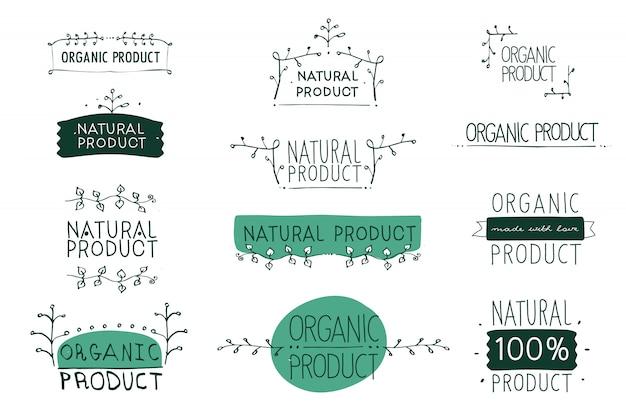 Vektorzeichen naturprodukt, das idee der ökologie, der natürlichkeit und der frische zeigt. handgemalt. Premium Vektoren