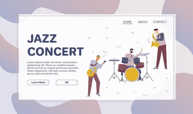 Vektorzeichenillustration der jazzband führen musik durch. musiker spielen instrumente: klavier, schlagzeug, gitarre, kontrabass, trompete und saxophon