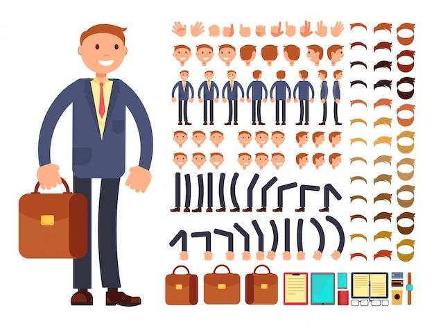 Vektorzeichensatz des karikaturgeschäftsmannes kundengerechter. konstruktor aus verschiedenen posen