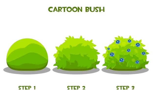 Vektorzeichnung schritt für schritt eines blühenden busches. grüner cartoon cous in verbesserung oder fortschritt.