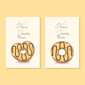 Vektorzeichnungen. herzlichen glückwunsch zum valentinstag. karten mit donuts.