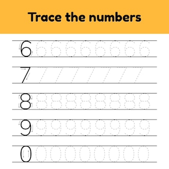 Vektorzeichnungen. verfolgen sie die zeilennummern für kindergarten- und vorschulkinder