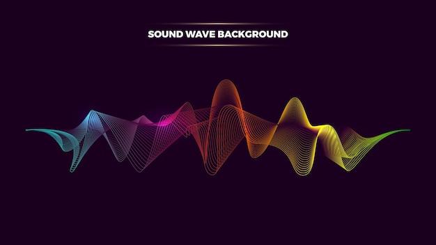 Vektorzusammenfassung mit dynamischem schallwellenhintergrund. musikspektrum neonlinien. abstrakter hintergrund des digitalen audiostudios