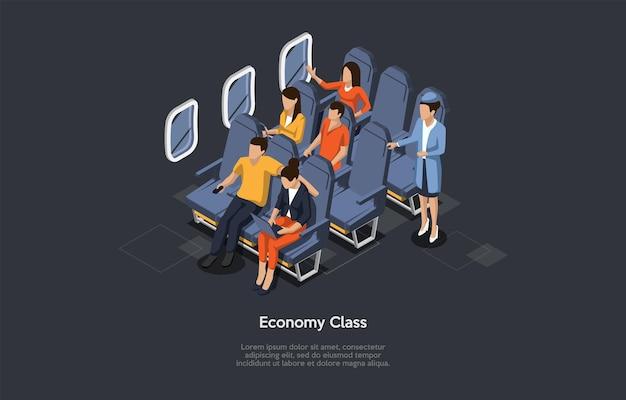 Vektorzusammensetzung. isometrisches design, cartoon-3d-stil. flug in der economy class. flugzeug nach innen, besatzungsmitglied und gruppe von passagieren sitzen. schreiben und dunkler hintergrund. infografik-objekte.