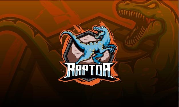 Velociraptor logo maskottchen, dinosaurier. raptor esport logo