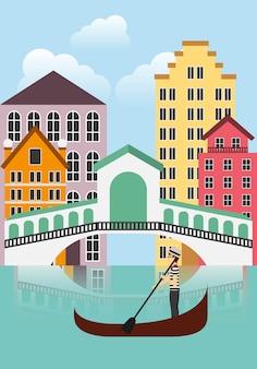 Venecia-stadtikone. italien kultur design. vektorgrafik