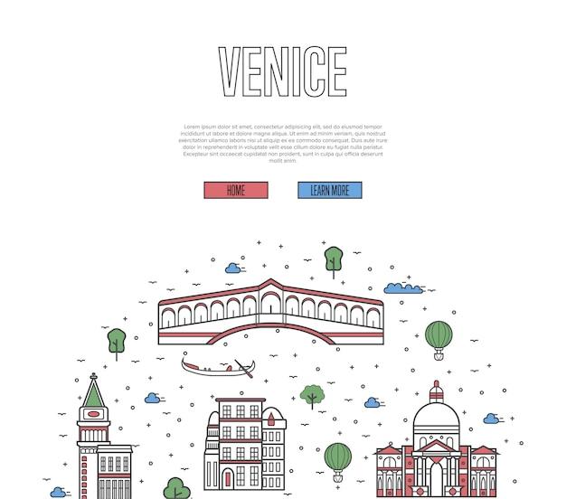 Venedig-reisewebsite im linearen stil