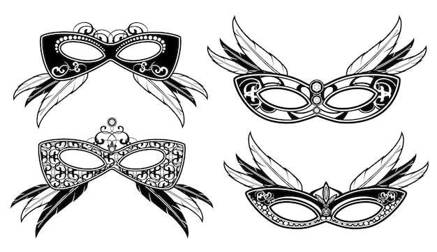 Venetianische maskerademasken mit spitzenluxusmustervektor. venezianische maske des karnevals für gesicht illustratio