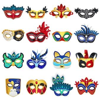 Venezianische karnevalsmasken eingestellt