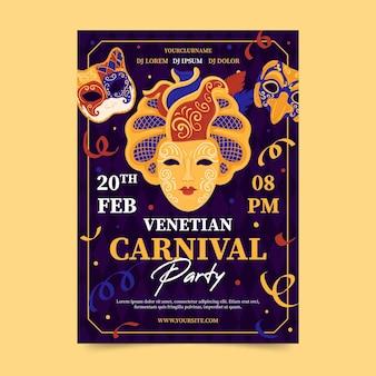 Venezianische karnevalsparty mit konfetti-plakatschablone