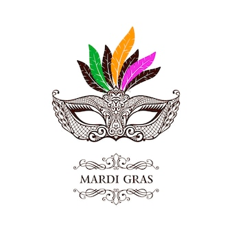 Venezianische karnevalsspitze maske vintage mardi gras illustration