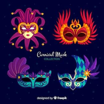 Venezianische maskensammlung des karnevals