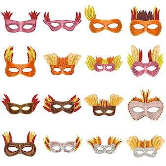 Venezianisches mockup-set der karnevalsmaske. realistische darstellung von 16 venezianischen modellen der karnevalsmaske für web