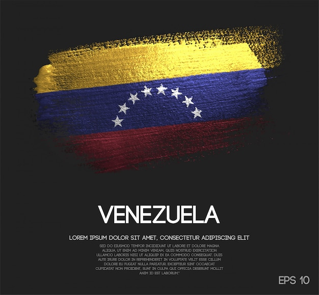 Venezuela flagge aus glitter sparkle pinsel farbe