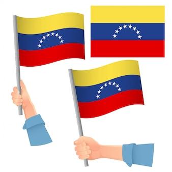 Venezuela flagge in hand gesetzt