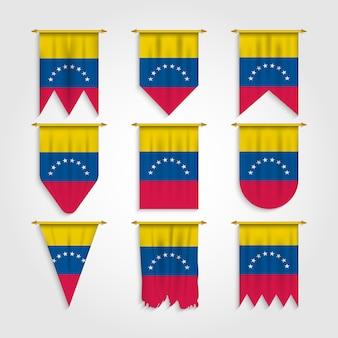 Venezuela flagge in verschiedenen formen