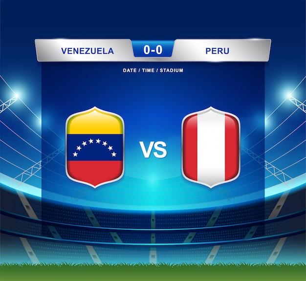 Venezuela gegen peru-anzeigetafel sendete fußball copa america