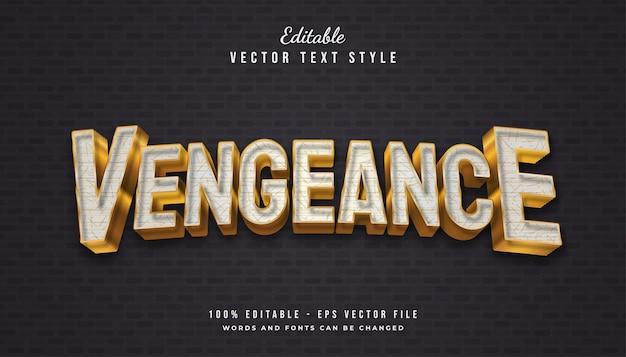 Vengeance text style in weiß und gold mit strukturiertem und geprägtem effekt