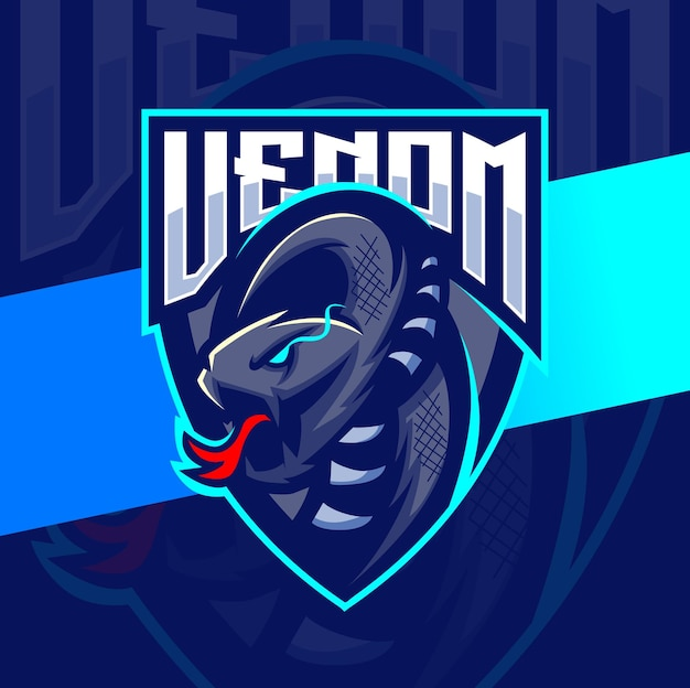 Venom viper schlange maskottchen esport logo design charakter