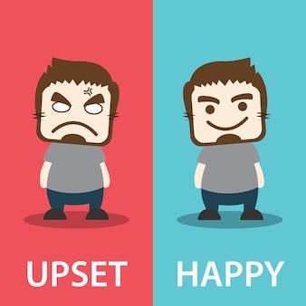 Verärgert und glücklich