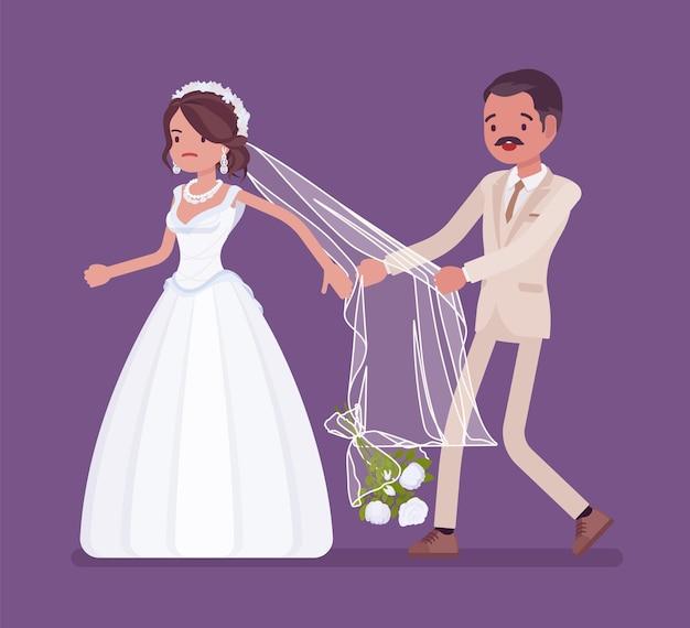 Verärgerte braut, die bräutigam auf hochzeitszeremonie verlässt