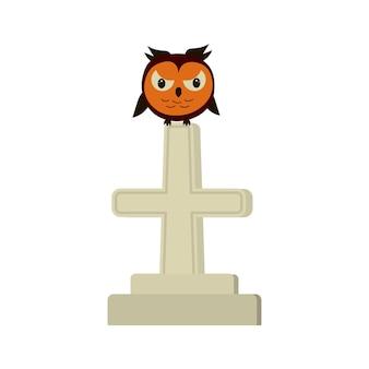 Verärgerte eule, die auf einem grabsteinkreuz sitzt halloween-vektorsymbol.