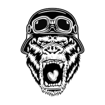 Verärgerte gorilla-vektorillustration. kopf des brüllenden tieres, das bikerhelm trägt