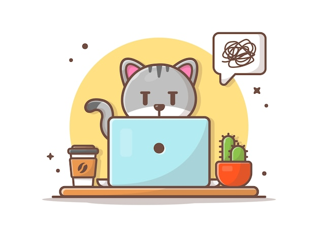 Verärgerte katze, die an laptop-illustration arbeitet