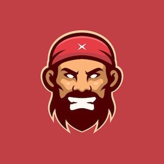 Verärgerte piratenkopfkarikaturlogoschablonenillustration esport logo spiel premium-vektor