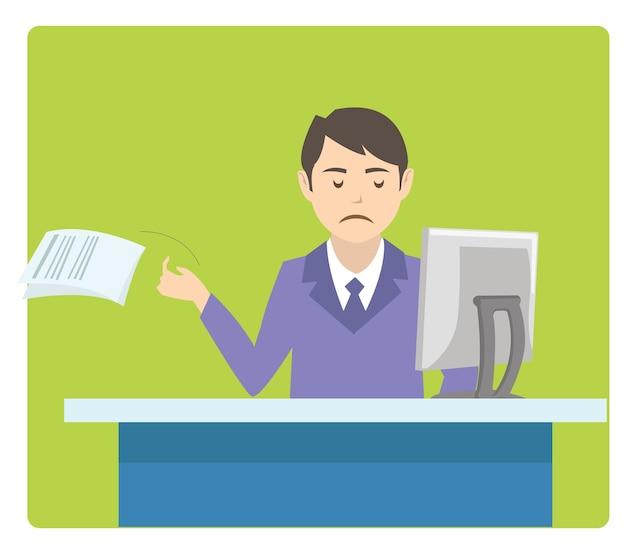 Verärgerte und gestresste arbeitskraft im schreibtisch