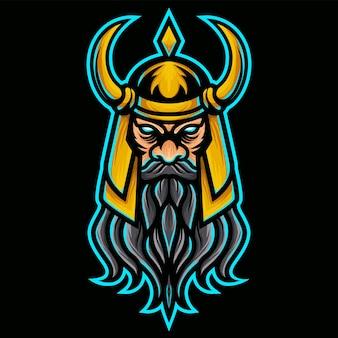 Verärgerte wikinger mit goldsturzhelm-logo