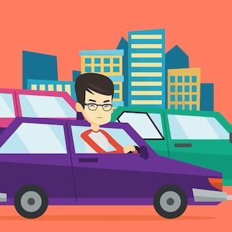Verärgerter asiatischer mann im auto, der im stau steckt.