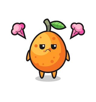 Verärgerter ausdruck der niedlichen kumquat-cartoon-figur, niedliches design für t-shirt, aufkleber, logo-element