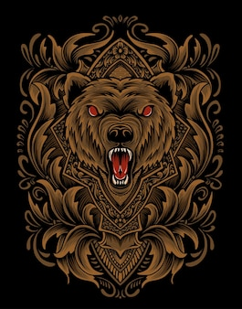 Verärgerter bärenkopf des illustrationsvektors mit weinlesegravurverzierung.