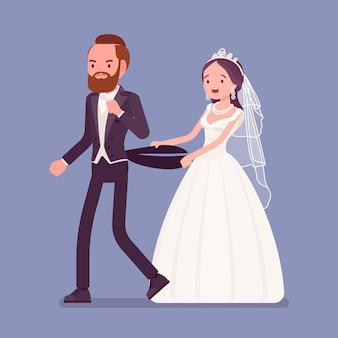 Verärgerter bräutigam, der braut auf hochzeitszeremonie verlässt