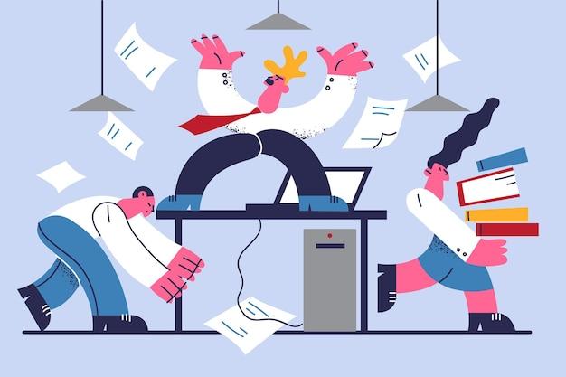 Verärgerter chef und gestresste mitarbeiterillustration