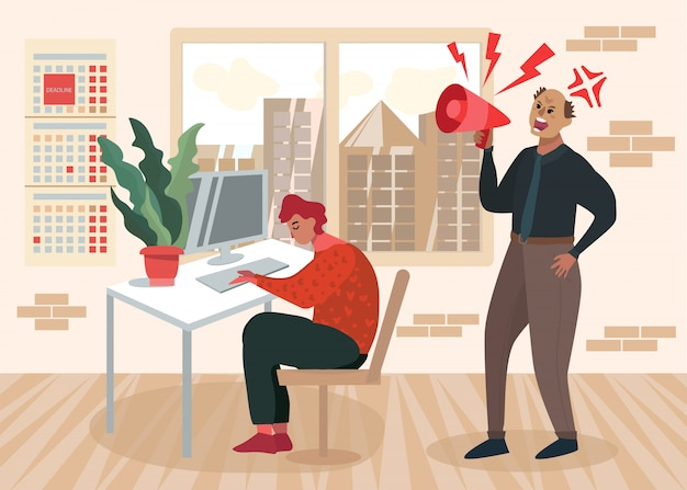 Verärgerter chef yelling overworked employee cartoon
