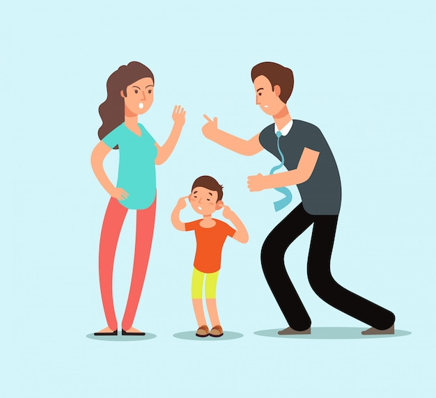 Verärgerter ehemann und frau schwören in gegenwart des unglücklichen erschrockenen kindes. familienkonflikt-vektorkarikaturkonzept