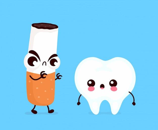 Verärgerter furchtsamer zigarette tötender zahn