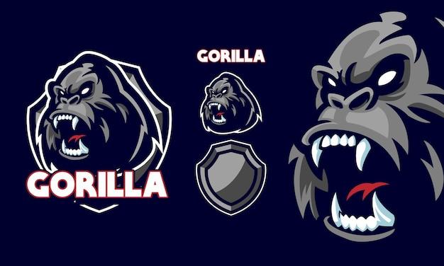 Verärgerter gorillakopf mit fang bereit, maskottchenlogo zu beißen