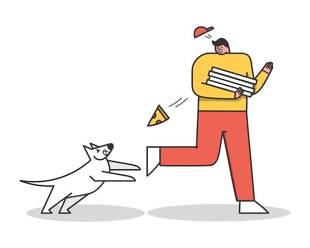 Verärgerter hund, der pizzaboten angreift. aggressiver hund bellt auf kerl. zeichentrickfiguren isoliert
