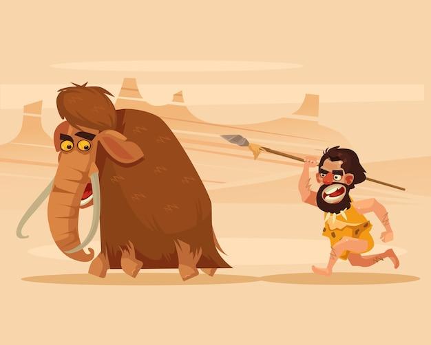 Verärgerter hungriger primitiver höhlenmenschcharakter, der laufende jagdmammutkarikaturillustration jagt
