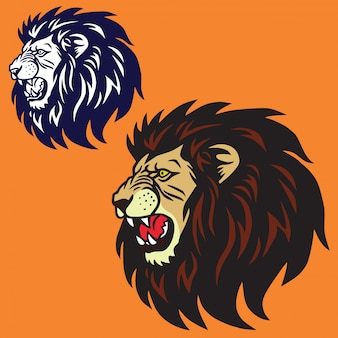 Verärgerter lion head logo set collection vector design