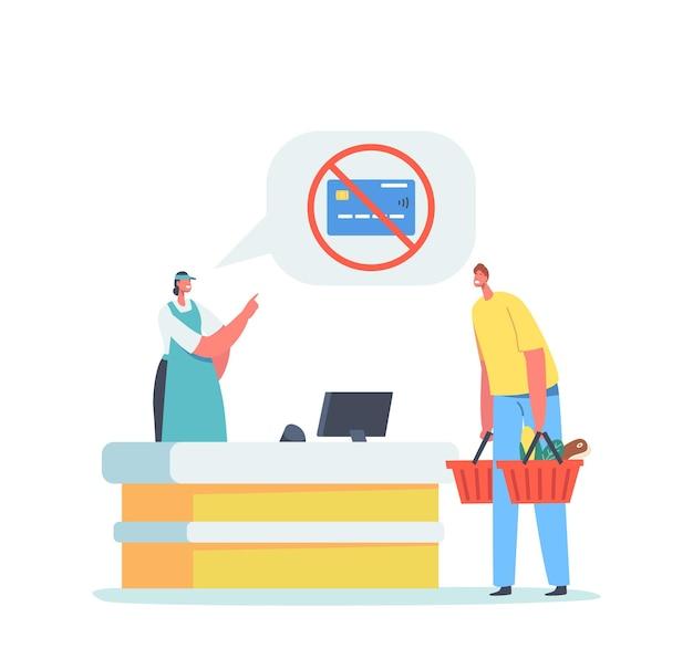 Verärgerter männlicher charakter des kunden erhielt kreditkartenverbot im supermarkt. verkäuferin kann keine zahlungstransaktion über das kassenterminal durchführen, geld sperren, problem mit bankverbot. cartoon-menschen-vektor-illustration