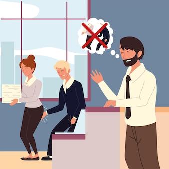 Verärgerter männlicher chef belästigung am arbeitsplatz