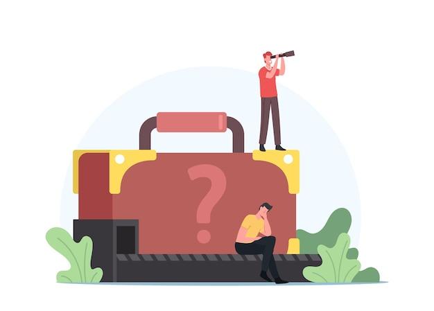 Verärgerter passagier verliert koffer mit unbekanntem gepäck am förderband. mann mit spyglass search verlorenes gepäckkonzept. reisende charaktere beanspruchen gepäck am flughafen. cartoon-menschen-vektor-illustration
