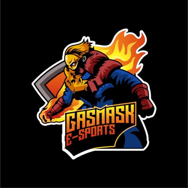Verärgerter spieleleutecharakter logo mascot-ausweis esports