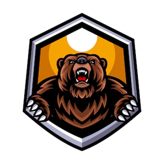 Verärgertes bärenmaskottchenlogo